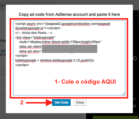 Como Adicionar e Configurar Google Adsense no WordPress - Cole o bloco de codigo Adsense