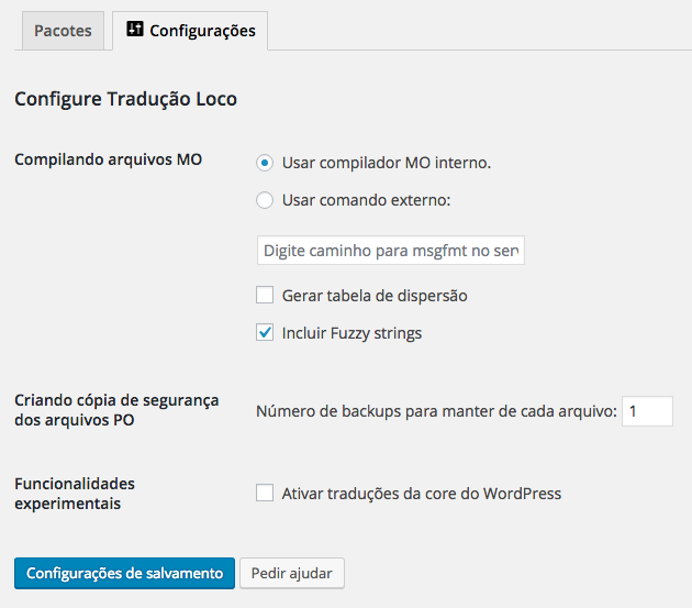 Traduzir Temas e Plugins WordPress - Configuracoes Loco Translate