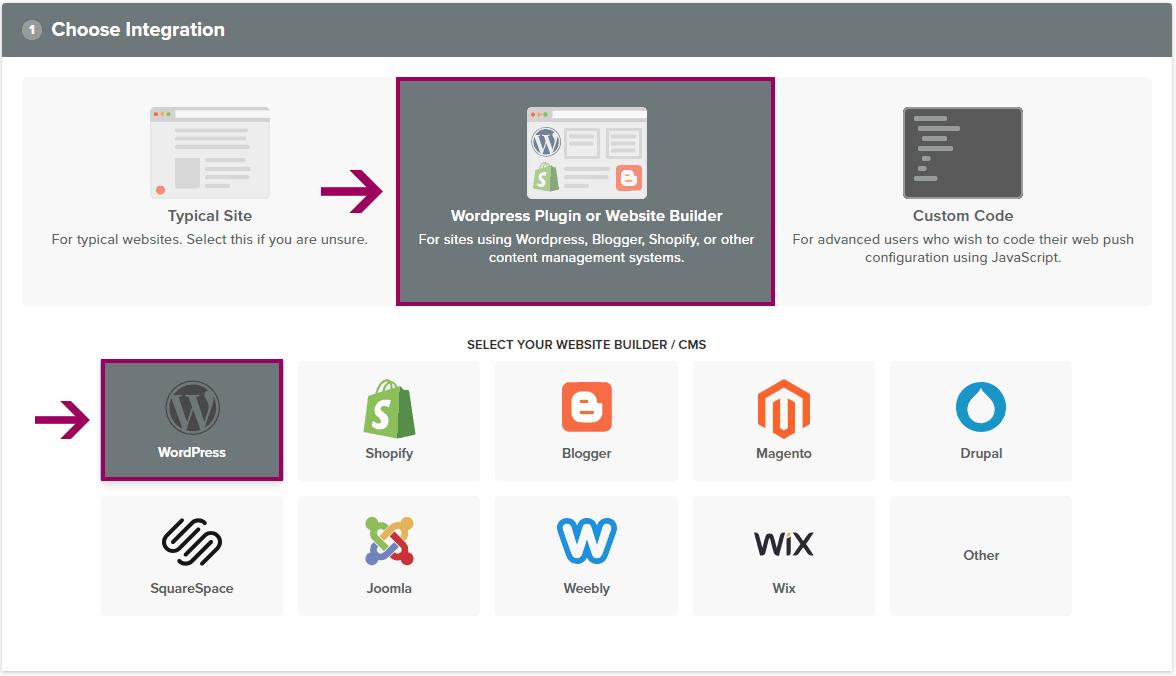 Notificacoes Push - Selecionando Integracao WordPress