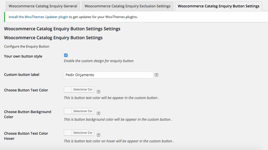 Como Criar Loja Catalogo WooCommerce - Woocommerce Catalog Enquiry Button Settings Settings