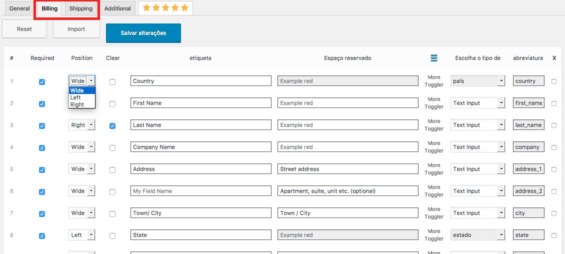 Como Gerenciar Pagina de Checkout WooCommerce - Configuracao Billing e Shipping Gerenciar Campos