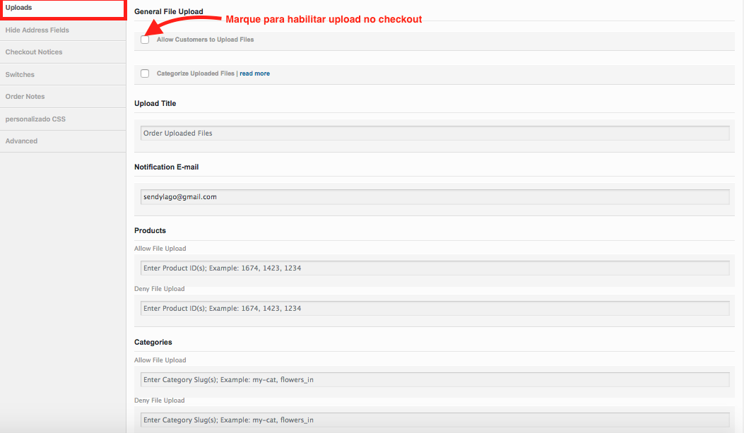 Como Gerenciar Pagina de Checkout WooCommerce - Configuracao de Upload