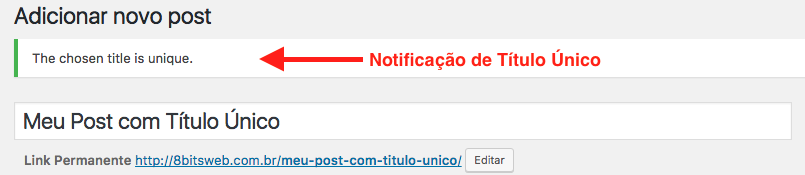 Como Impedir Titulos Duplicados no WordPress - Notificacao de Post com Titulo Utilizado Unico