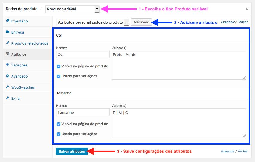 Como Usar Cor e Imagem para Variacao de Produtos WooCommerce - Atributos do Produto para Variacao