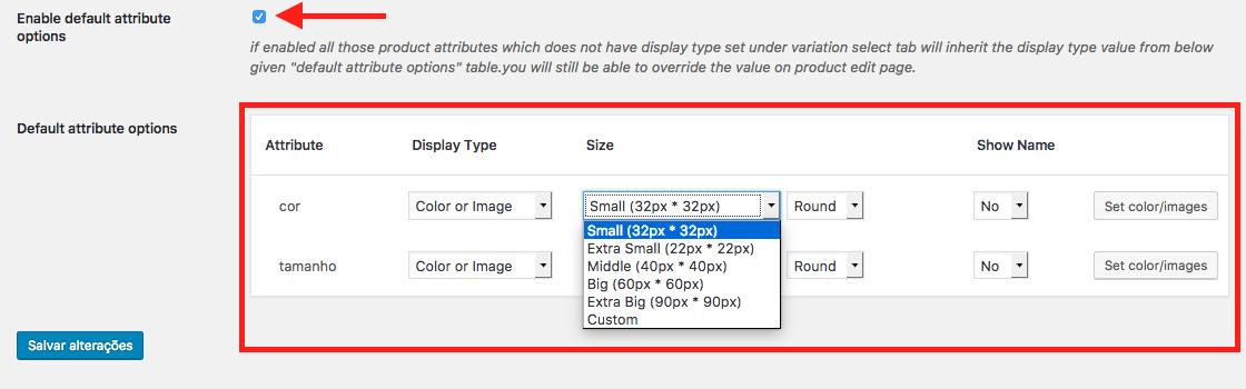 Como Usar Cor e Imagem para Variacao de Produtos WooCommerce - Configuracoes Padrao do Plugin para Atributos