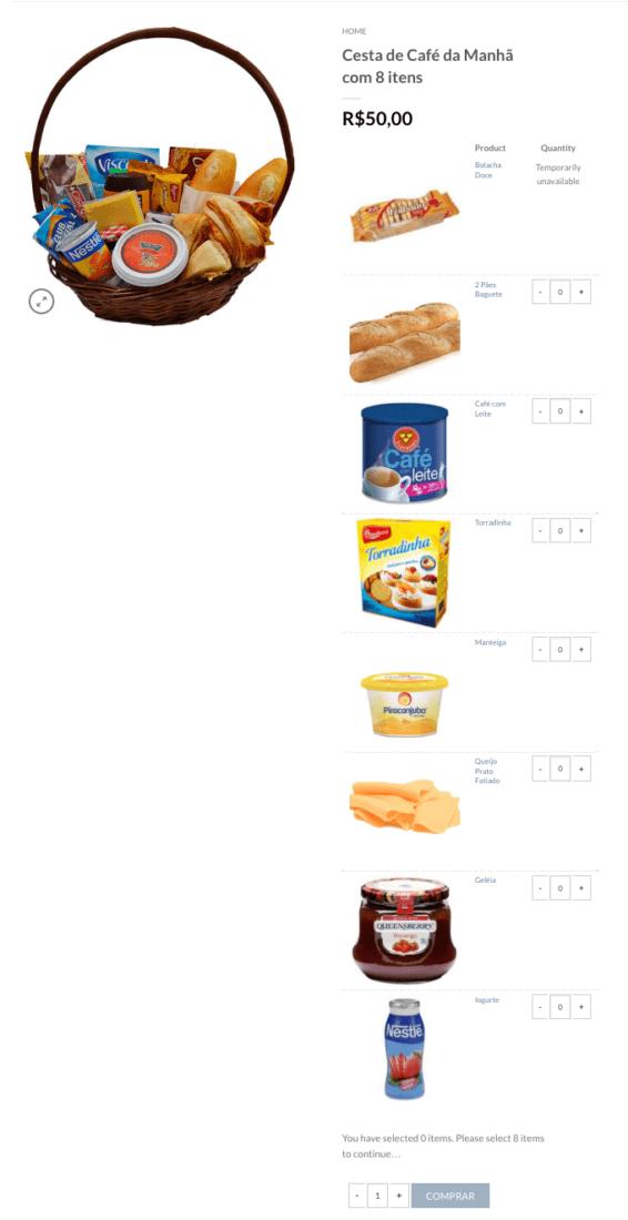 Como Vender Produtos Misturados e Combinados no WooCommerce - Pagina do Produto Misturado e Combinado