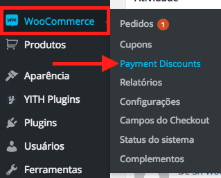 Ofereca Desconto por Tipo de Pagamento no WooCommerce - Acessando Configuracoes do WooCommerce Payment Discounts
