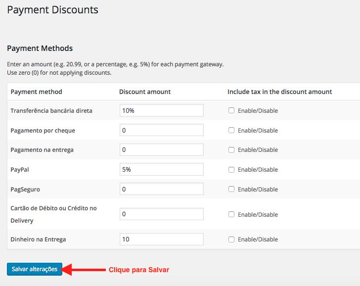 Ofereca Desconto por Tipo de Pagamento no WooCommerce - Descontos Configurados com WooCommerce Payment Discounts