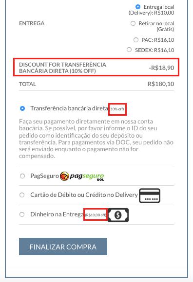 Ofereca Desconto por Tipo de Pagamento no WooCommerce - Exemplo com 10 porcento de desconto
