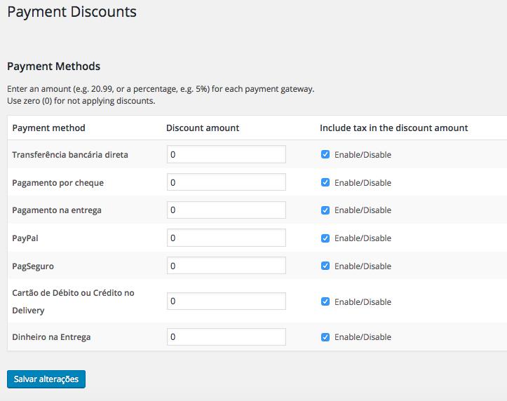 Ofereca Desconto por Tipo de Pagamento no WooCommerce - Pagina de Configuracao de Descontos WooCommerce Payment Discounts
