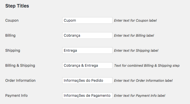 Como Ter Etapas no Checkout WooCommerce - Titulo de cada Etapa