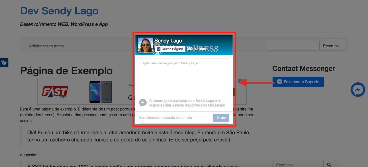 Como Usar Facebook Messenger Pro Para WordPress - Messenger ao clicar no botao do widget