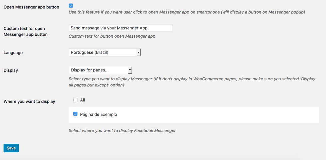 Como Usar Facebook Messenger Pro Para WordPress - Parte 2 das Configuracoes
