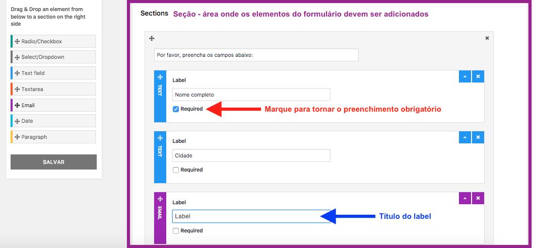 Crie Formulario de Contato Com Passo a Passo no WordPress - Adicionando Elementos a secao do Passo 1