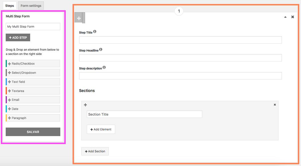 Crie Formulario de Contato Com Passo a Passo no WordPress - Area de criacao do formulario com passo a passo