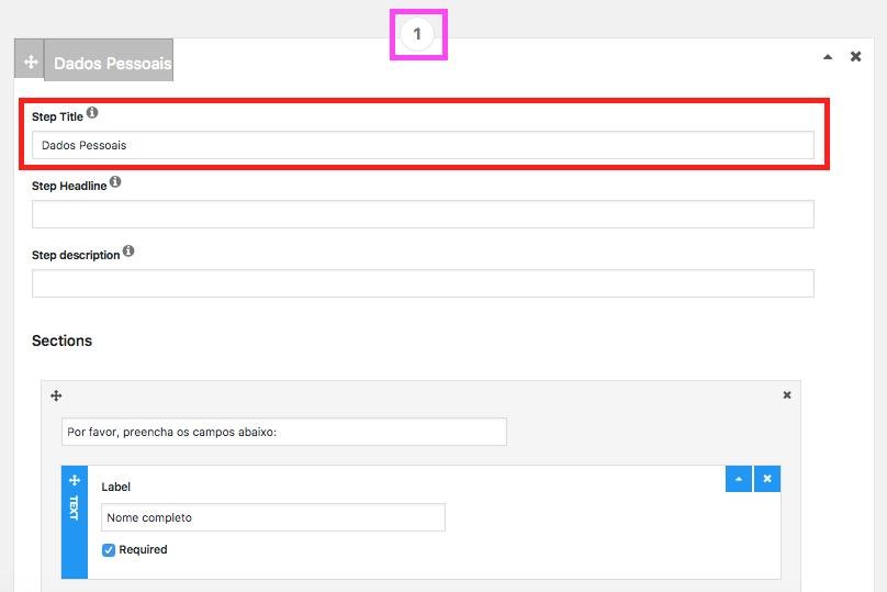 Crie Formulario de Contato Com Passo a Passo no WordPress - Configurando Passo ou Etapa 1
