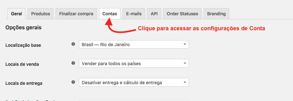Como Criar Pagina de Cadastro no WooCommerce com Plugin - Configuracao Contas para Desabilitar Cadastro