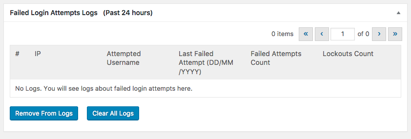 Seguranca no WordPress com Loginizer - Brute Force Failed Login Attempts Logs 24 hours