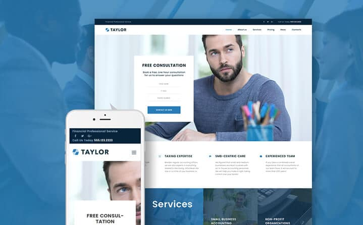 Taylor Tema WordPress Negócios