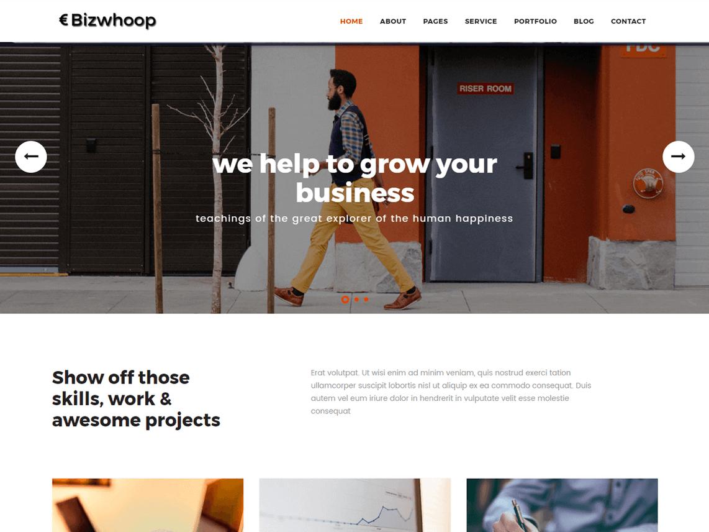 Bizwhoop Tema WordPress Negocios