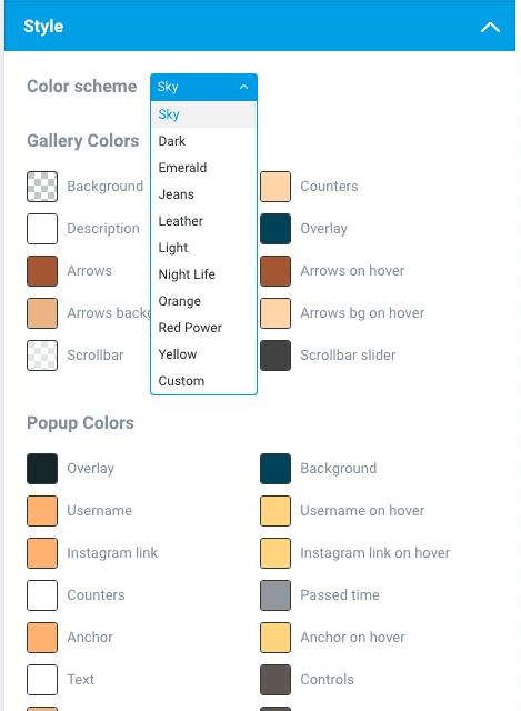 Galeria do Instagram no WordPress Com Instagram Feed - Configuracoes da Aba Style Aparencia Cores