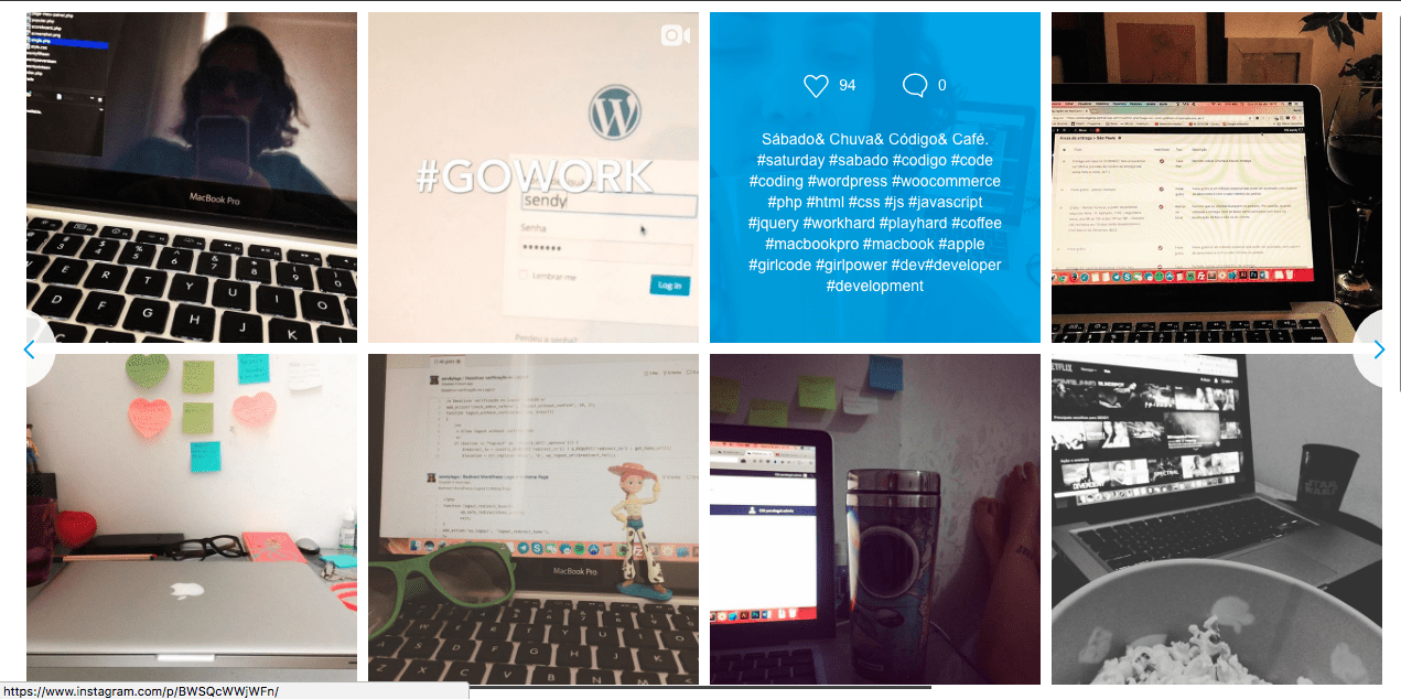 Galeria do Instagram no WordPress Com Instagram Feed - Galeria em Funcionamento na Pagina