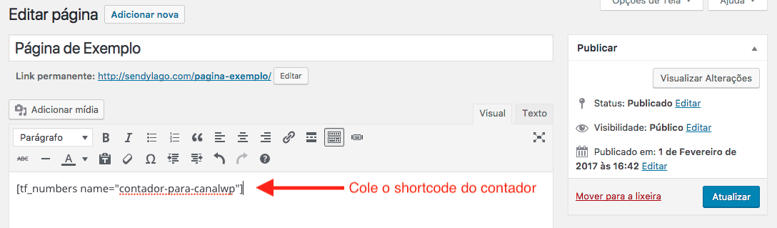 Como Criar Contador Animado no WordPress com TF Random Numbers - Colar Shortcode Dentro Da Pagina