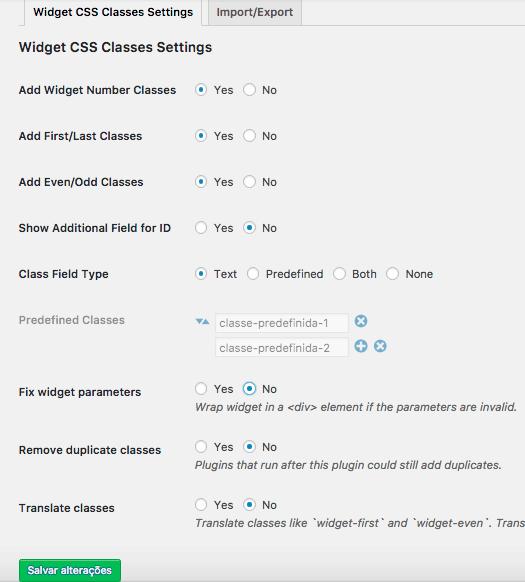 Como Adicionar Classe CSS Aos Widgets WordPress - Pagina de Configuracoes do Plugin