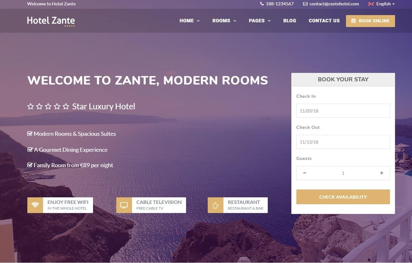 Hotel Zante Tema WordPress