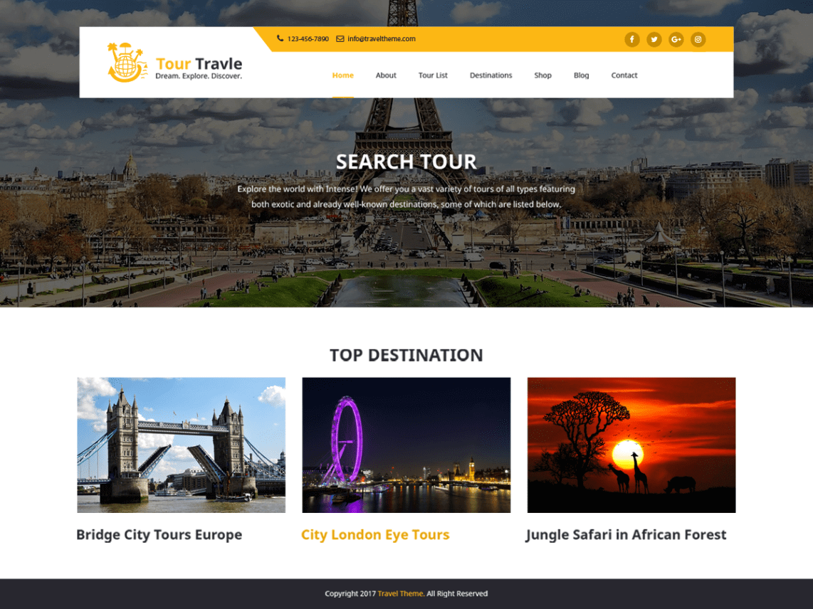 Tours & Travel Tema WordPress