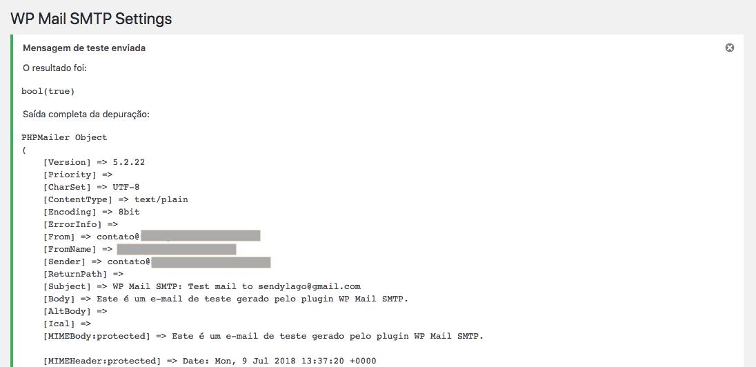 Como Configurar Servidor de E-mail na Locaweb - Resposta da tentativa de envio para e-mail teste