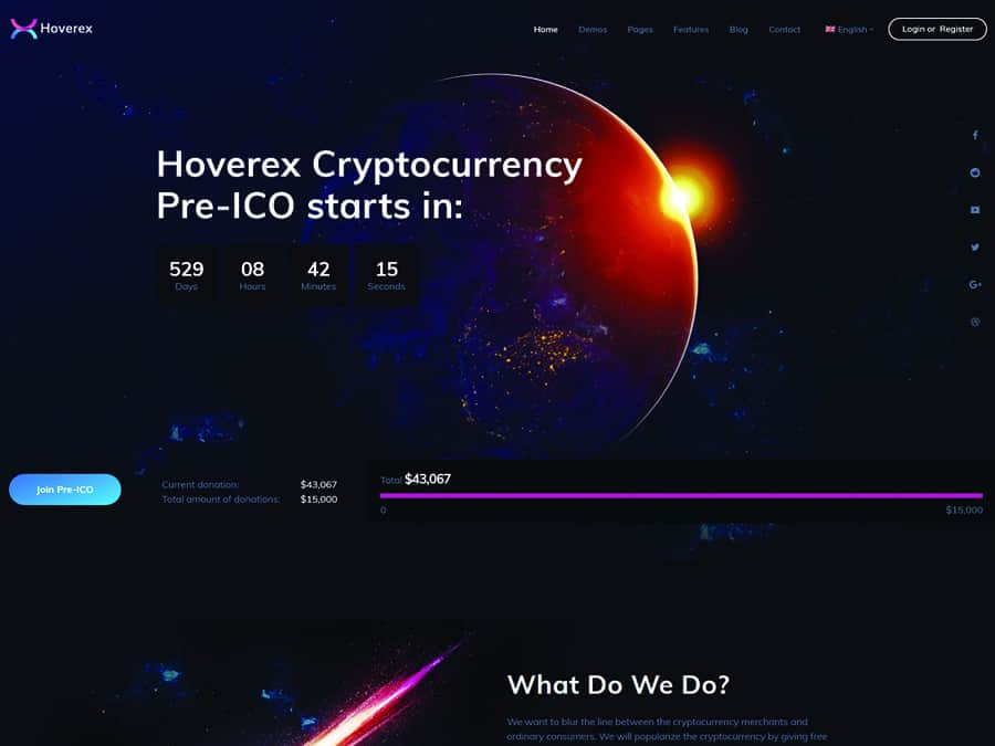 Hoverex Tema WordPress Cryptomoeda e ICO