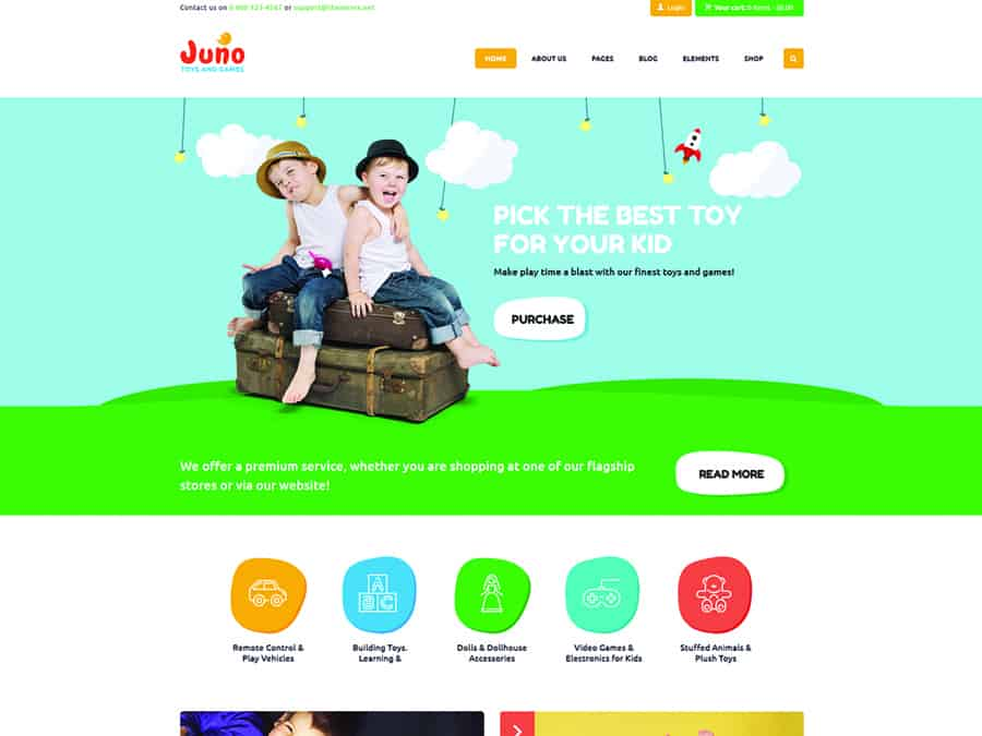 Juno Tema WordPress Brinquedos Crianca e Loja de Jogos