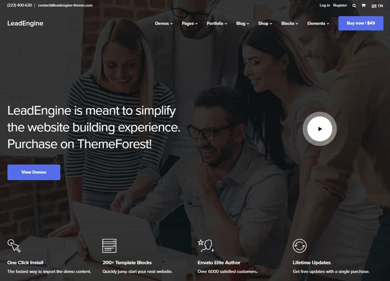 LeadEngine – Multi-Purpose WordPress Theme with Block Builder
