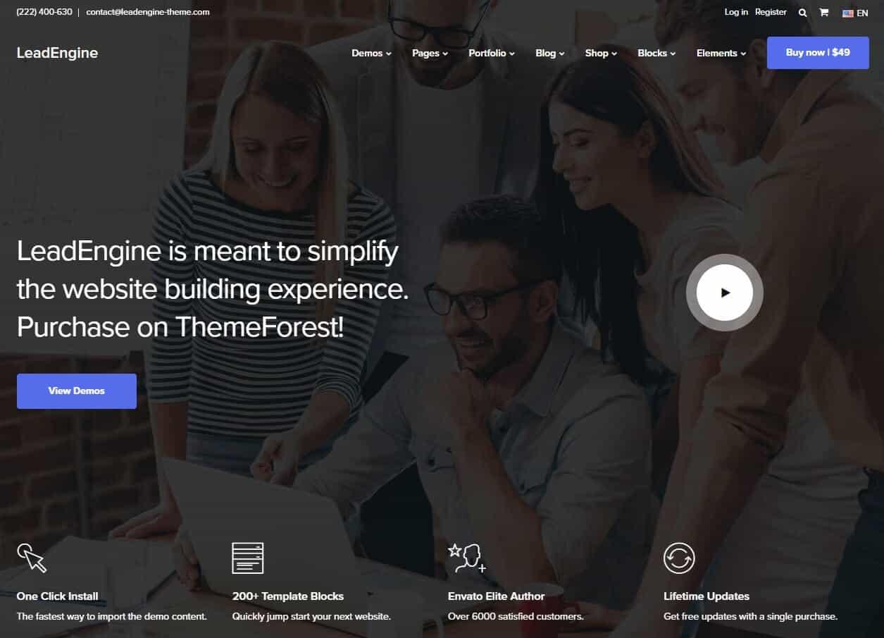 LeadEngine – Multi-Purpose WordPress Theme with Block Builder