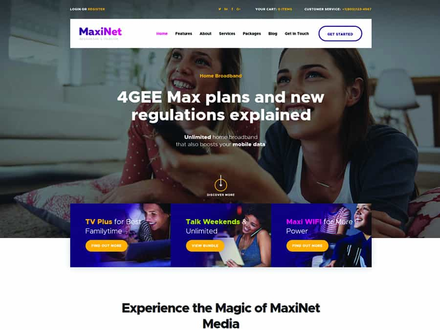 MaxiNet Tema WordPress Telecom