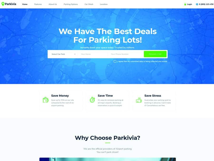 Parkivia Tema WordPress Estacionamentos e Manutencao