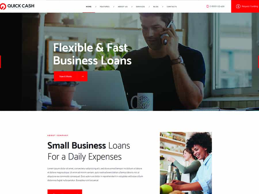 Quick Cash Tema WordPress Empresa de Emprestimos e Consultor Financeiro