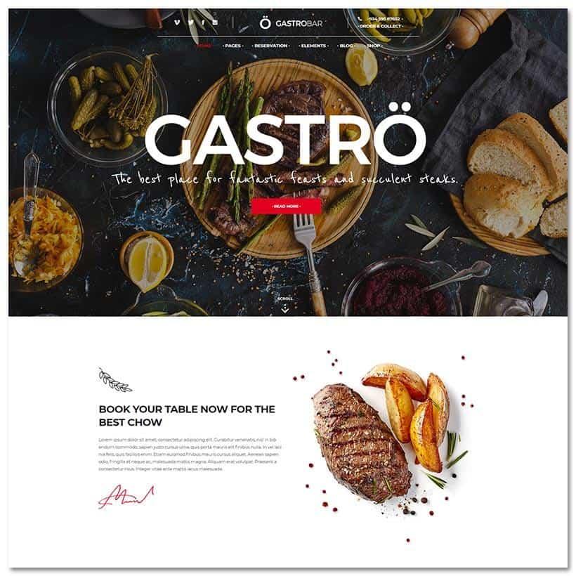 Gastro Tema WordPress Gastronomia e Restaurantes