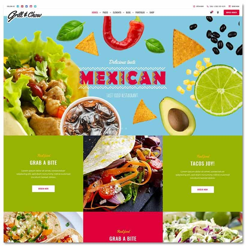 Grill and Chow Tema WordPress Restaurante e Fast Food