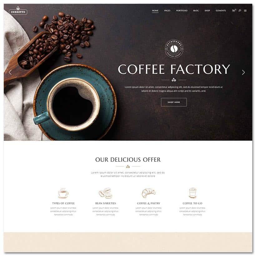 Correto Tema WordPress Restaurante e Cafes