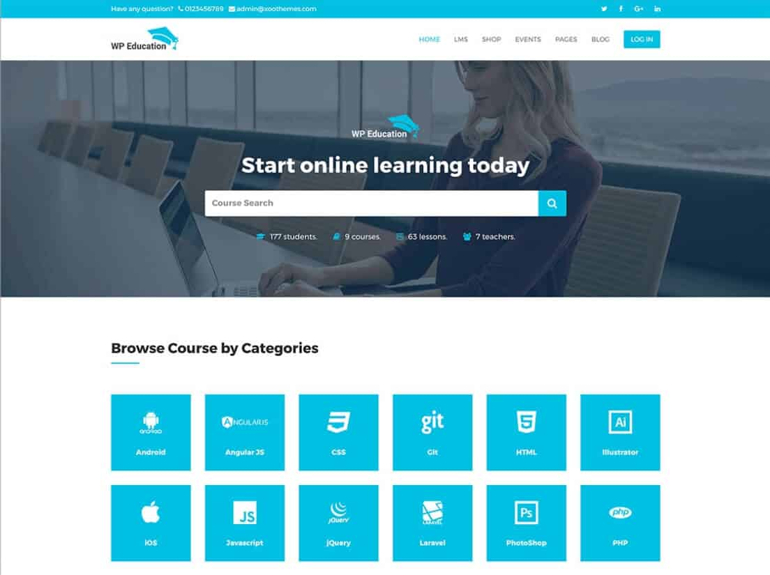 WP Education LMS Tema WordPress