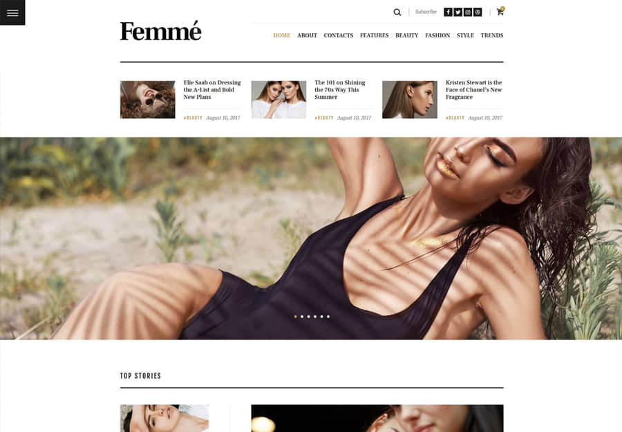 Femme Online Tema WordPress Revista Fashion