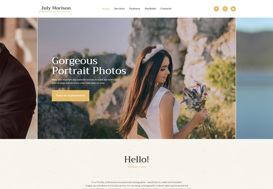 July Morison Tema WordPress Fotografos Portfolio e Blog