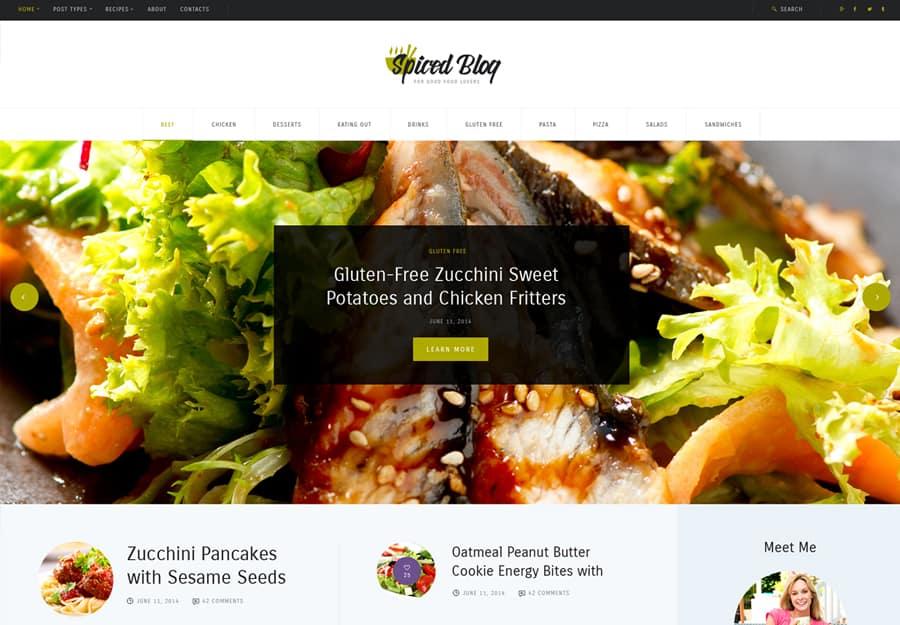 Spiced Blog Tema WordPress Blog de Receitas e Pessoal