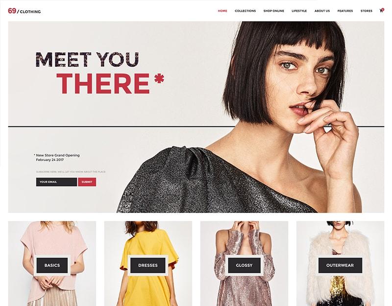 69-Clothing Tema WordPress Lojas de Roupa e Varejistas