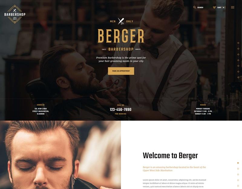 Berger Tema WordPress Barbearia e Studios