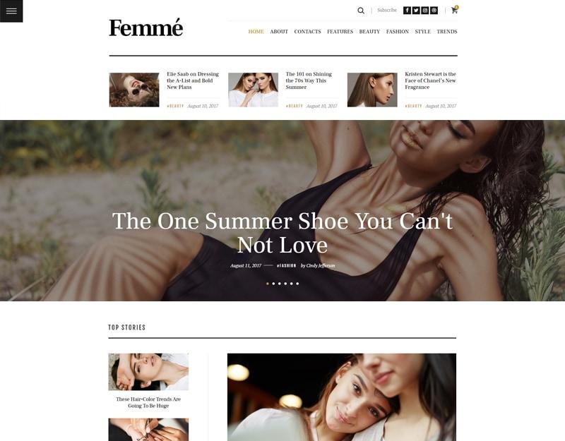 Femme Tema WordPress para Blogs e Editores