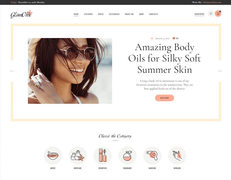 GlamChic Tema WordPress Blog de Moda e Beleza
