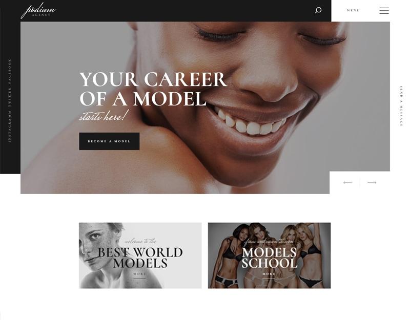 Podium Tema WordPress para Agencia Modelos e Portfolio Modelo